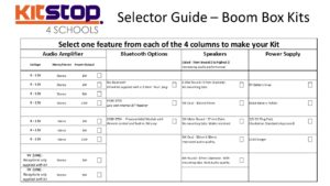 Selector Guide for Bluetooth and Boom Box Kit